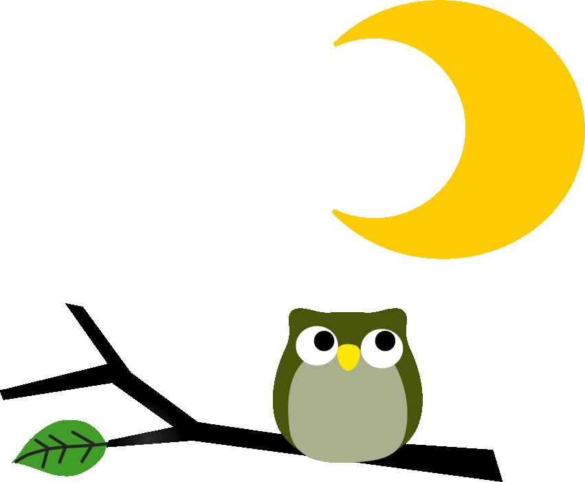 フクロウと月のイラスト 無料イラストフリー素材