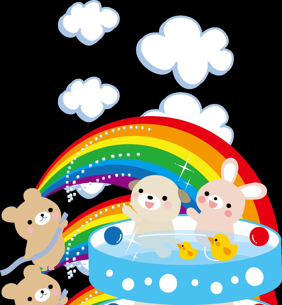 夏・プール水遊びのイラスト(無料イラスト)フリー素材
