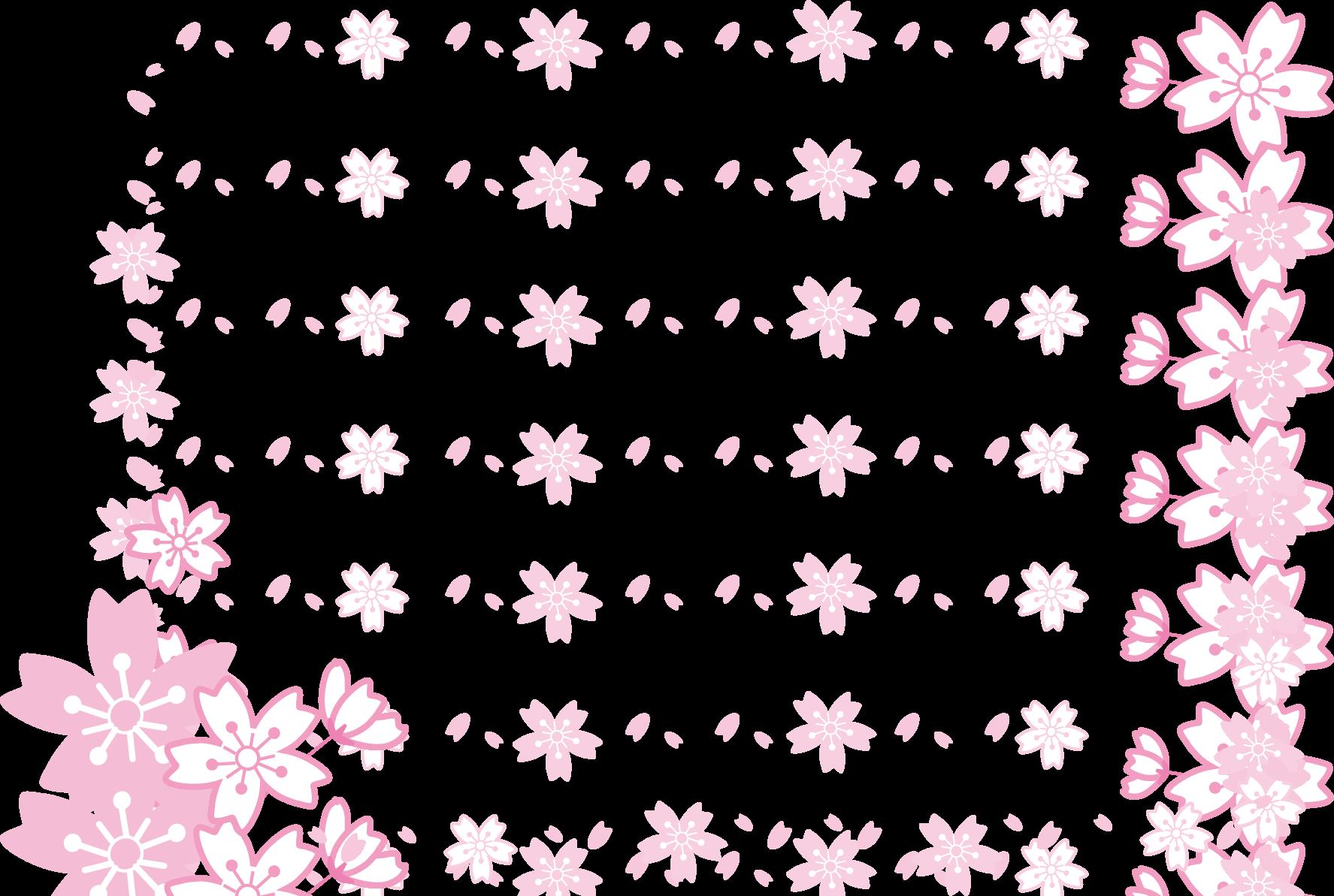 飾り枠・ライン・無料イラスト素材/桜