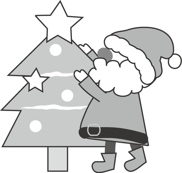 おしゃれ モノクロ メリークリスマスツリー クリスマス イラスト