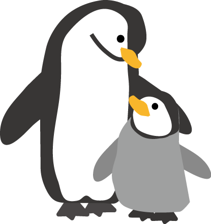 ペンギンの親子のイラスト 3, 4
