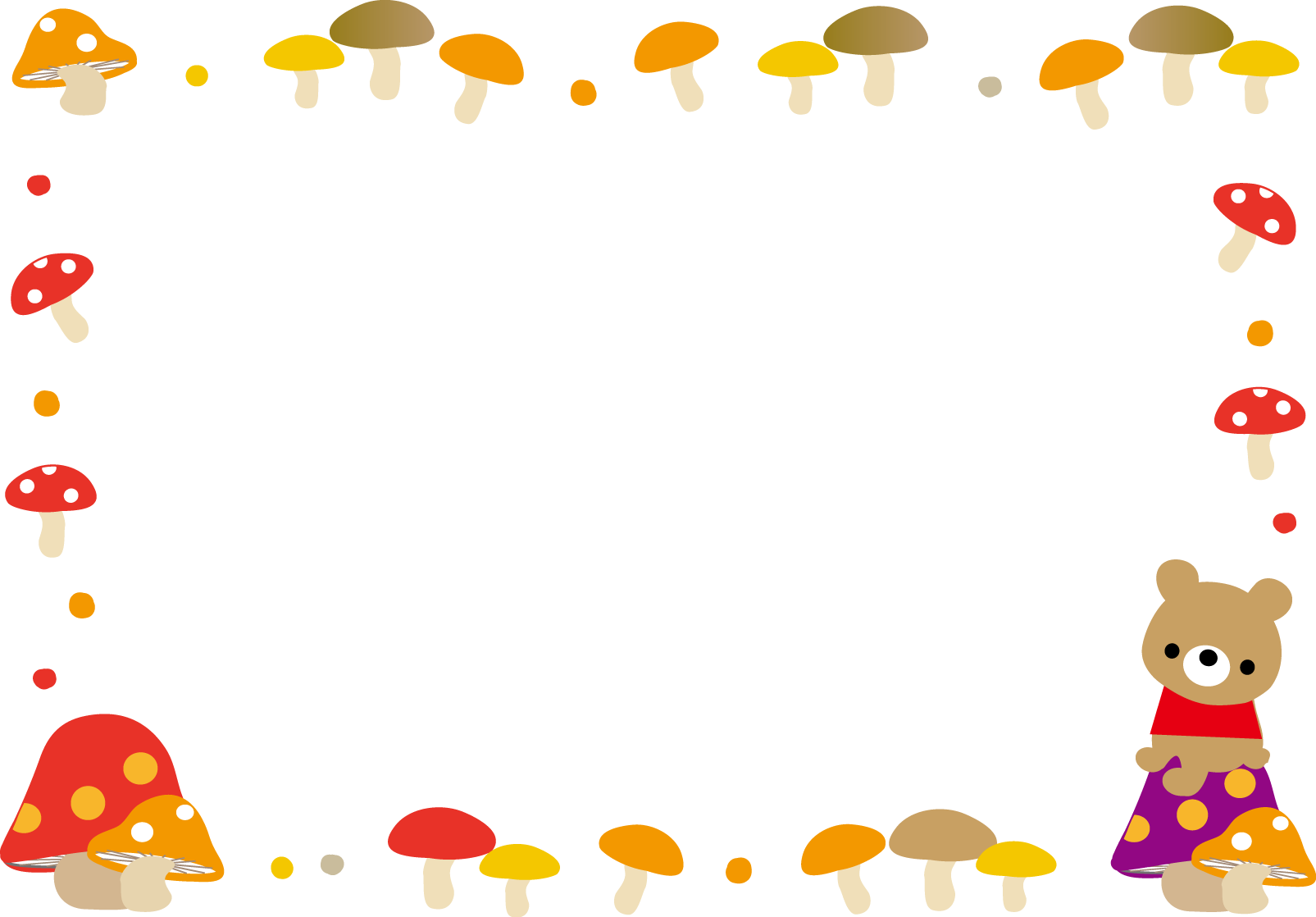 枠・吹き出しイラスト(秋きのこ)無料イラスト素材