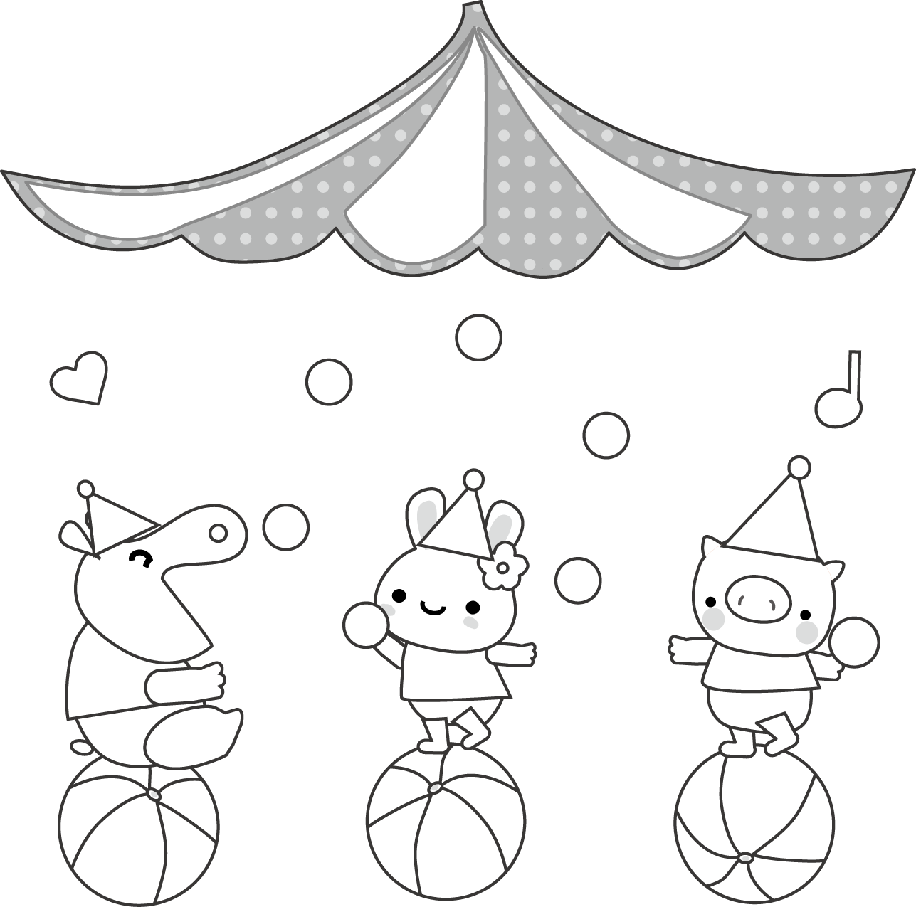 動物たちのサーカスのイラスト・無料イラスト素材