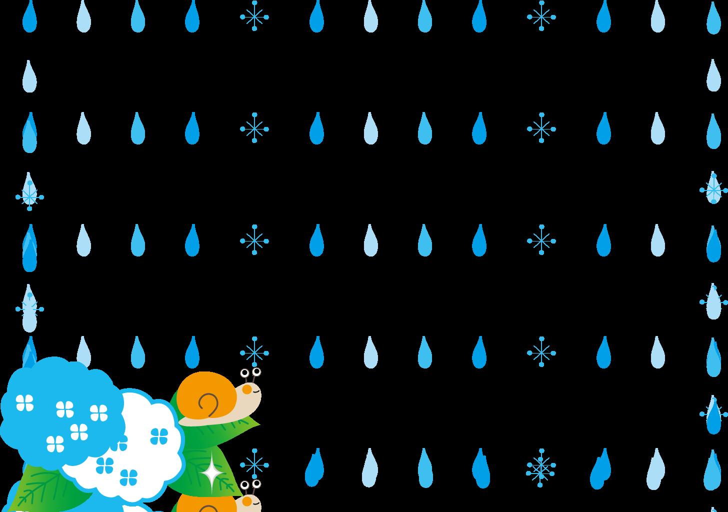 飾り枠・ライン・無料イラスト素材/梅雨