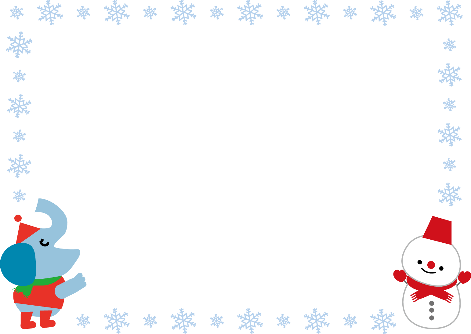 飾り枠・ライン・無料イラスト素材/冬
