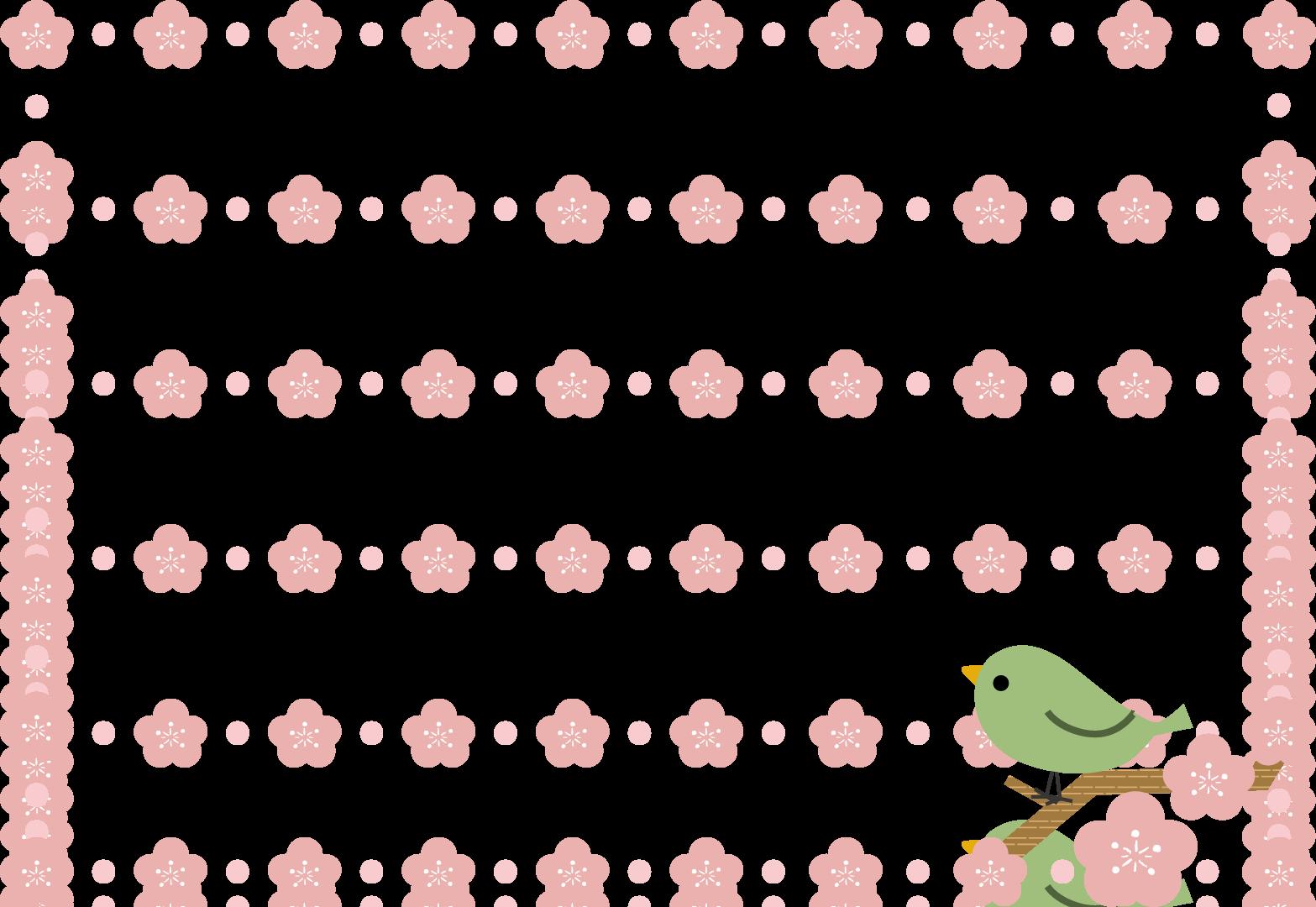 春のイラスト(無料イラスト素材)梅・うぐいす