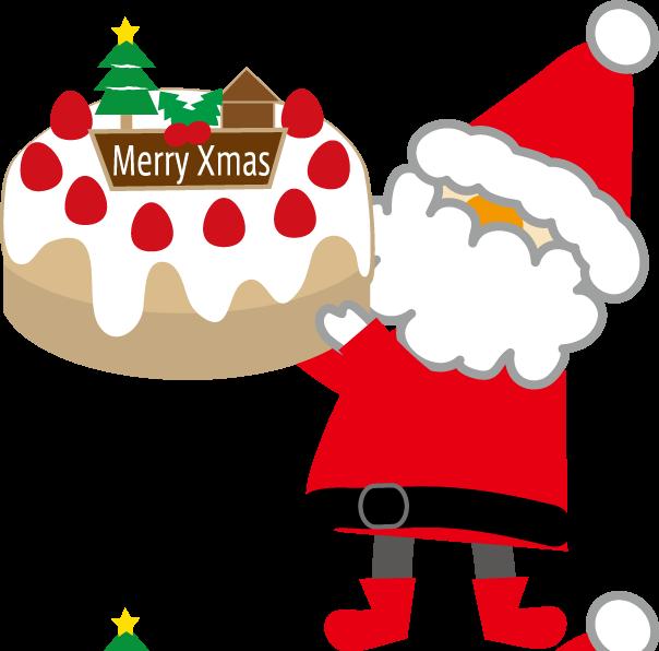 サンタクロースとケーキ