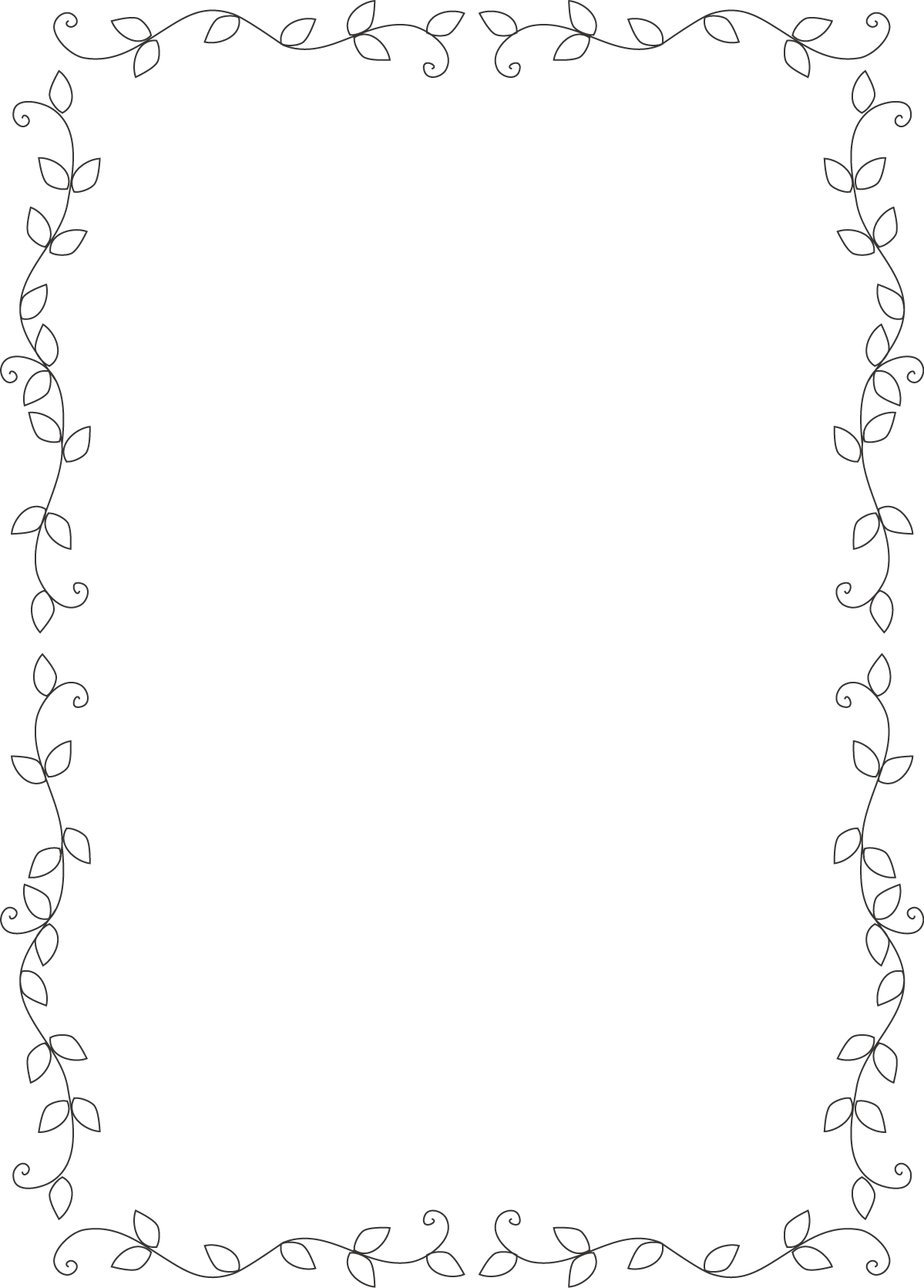 枠・イラスト飾り枠(葉デザイン)無料イラスト素材