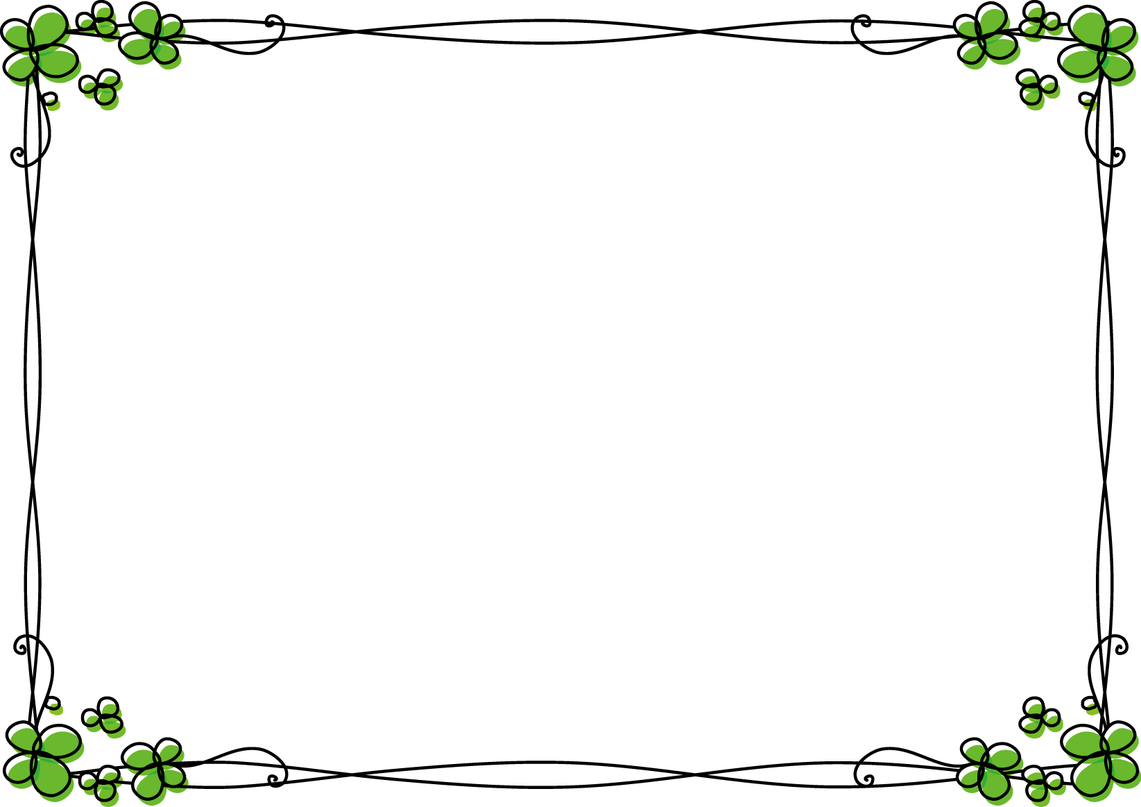 枠・飾り枠・飾り罫・飾り線(クローバーおしゃれなデザイン)無料