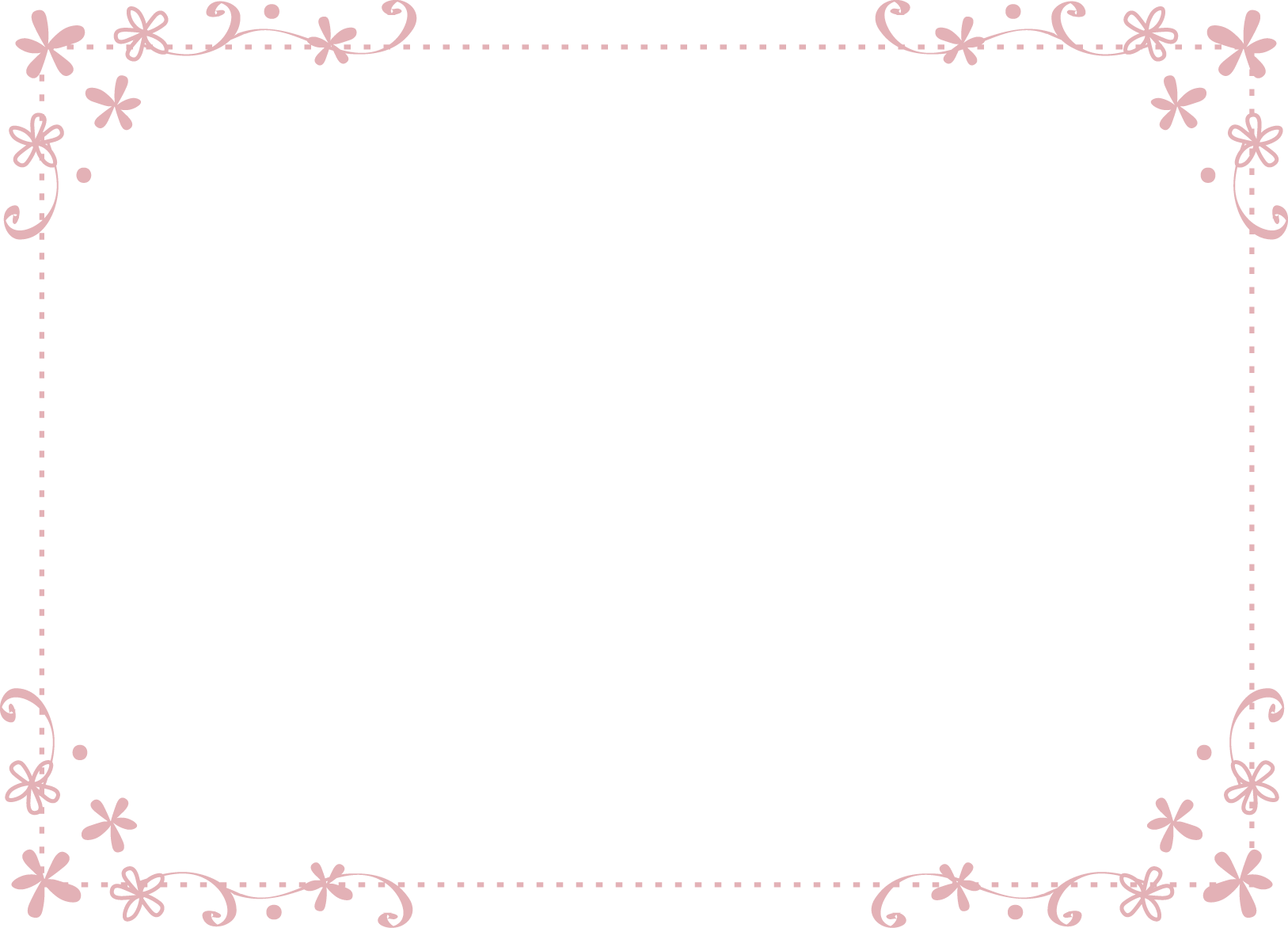枠・飾り枠・飾り罫・飾り線(おしゃれな小花のデザイン)無料イラスト素材