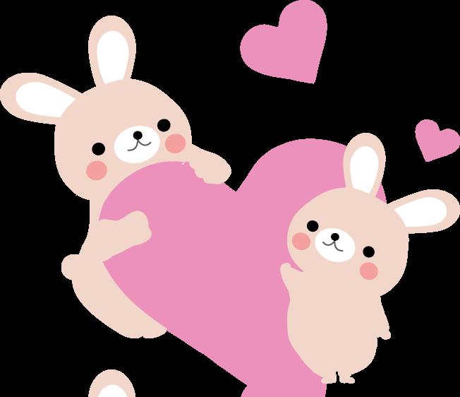 かわいいウサギの親子のイラスト 印刷用ダウンロード1