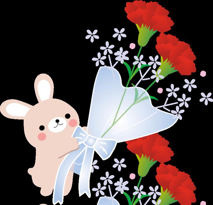 無料素材 ウサギちゃんの母の日のイラスト カーネーションのイラスト クマちゃんの母の日のイラスト